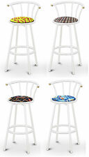 "FC58 WHITE FINISH METAL 24"" TALL SWIVEL SEAT CUSHION KITCHEN COUNTER BARSTOOLS"