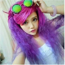Womens Purple Mix Lolita Hair Curly Wavy Long Wigs Anime Cosplay Party Wig + Cap