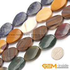 Natural 18x25mm Assorted Stones Oval Twist Beads For Jewelry Making Strand 15""