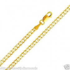 Solid 14k Yellow Gold 2.7mm Cuban Chain 16 18 20 22 24 26 Inches