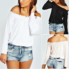 Sexy Womens Off The Shoulder Low Back Peasant Long Bell Sleeves Blouse Crop Tops