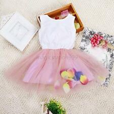 Kids Baby Girls Colorful Petal Princess Skirt Party Tutu Lace Bow Tulle Dress M8