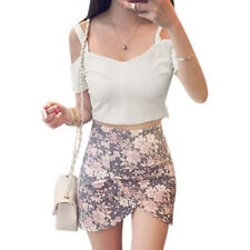 Woman Cut Out Shoulder Exposed Zipper Back Short Sleeves Crop Top