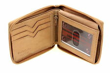 Mens Bifold Wallet Zipper Closed Zip Around Flap Up Genuine Leather New