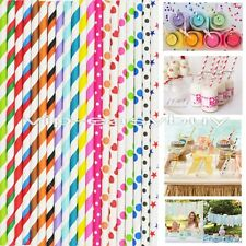 #11 25 x STRIPED PAPER DRINKING STRAWS-RAINBOW MIXED FOR PARTY TABLE DECORATIONS