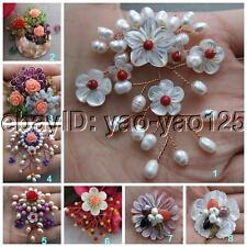 Mother Of Pearl Jade Resin Flower Multi Color Freshwater Pearl Brooch Pin