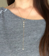 THREE Crystal Gold Y Lariat Drop Necklace also in Sterling Silver