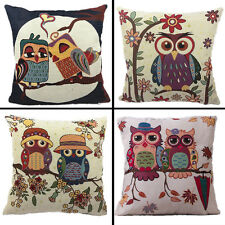 Colourful Owl Linen Floral Cushion Covers Throw Pillow Case Sofa Bed Home Decor