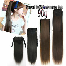 90g Ribbon Ponytail Clip in 100%Real Human Hair Extensions,Full Head,any color
