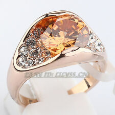 Simulated Gemstone Fashion Ring 18KGP CZ Rhinestone Crystal Size 5.5-9