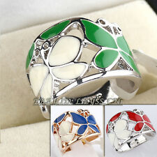Fashion No Stone Glaze Butterfly Ring 18KGP Size 5.5-6.5