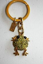 NEW Coach 93135 Enamel Green Pave Frog Key Fob Ring Chain