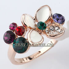 Multi-Colored Flower Fashion Ring 18KGP CZ Rhinestone Crystal Size 5.5-6.5