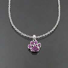 Color Paw Print Rhinestone Crystal Charm Necklace Dog Cat Pet