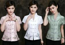 Charming Chinese women's silk embroidery tops shirt blouse Sz: 8 10 12 14 16