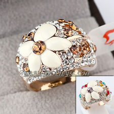 B1-R618 Fashion Flower Cocktail Ring 18KGP Swarovski Crystal Size 5.5-9