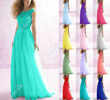New Lace Chiffon Long Evening Ball Gown Party Prom Bridesmaid Dresses Size 6-18