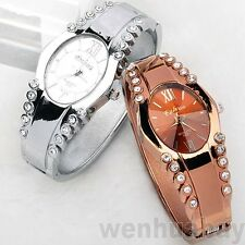 Women Crystal Quartz Stainless Steel Bangle Oval Dial Bracelet Wrist Watch Gift