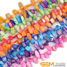 """Dyed Colorful Shell MOP Freeform Top Drilled Beads For Jewelry Making Strand 15"""""""