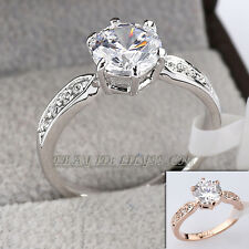 Fashion Engagement Wedding Ring 18KGP CZ Rhinestone Crystal Size 5.5-9