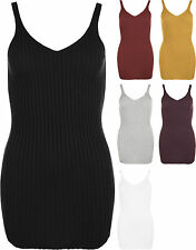 Womens Knit Ribbed Sleeveless Stretch V-Neck Long Top Ladies Short Mini Dress