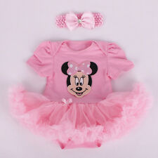 Infant Baby Girl Pink Minnie Mouse Romper Tutu Dress Headband Costume Clothes