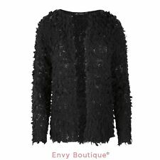 NEW WOMENS LADIES KNIT TAIL YARN KNIT FLEECE CREW NECK OPEN FRONT CARDIGAN 10-16