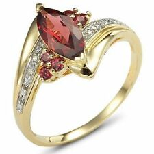 Size 6,7,8,10 Marquise Cut Red Garnet 18K Gold Filled Womans Wedding Ring Gift