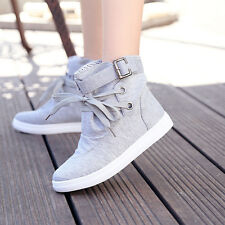 Fashion Women Girls Platform Lace Up Canvas Sneakers High Heel Comfort Shoes