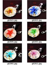 g626m75 Women's Circle Round Flower Lampwork Glass Murano Bead Pendant Necklace