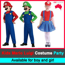 Kids Boy Girl Children Super Mario Luigi Brothers Dress Party Costume Halloween