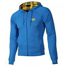 ADIDAS ORIGINALS MENS TREFOIL FLOCK FILM HOODY BLUE TARTAN
