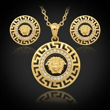 18k Gold Plated Women's Medusa Head-Versace-Style Earrings and Necklace