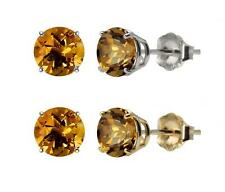 10k White or Yellow Gold 8mm Round Citrine Stud Earrings