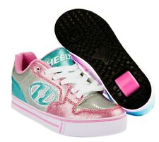 Heelys Motion Plus Shoes Silver Light Pink Light Blue + FREE DELIVERY+HOW TO DVD