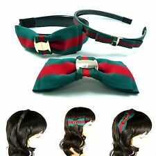 Green-Red-Green Web Bow Headband Barrette Hair Band Pin Clip Gossip Girl Women