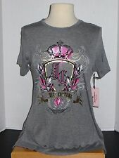 NWT Women Juicy Couture High Low Graphic Tee Color Gray
