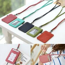 Leather ID Badge Card Money Coin Lanyard Necklace Clear Holder Zip Case Wallet