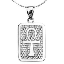 Sterling Silver Egyptian Ankh Cross Engravable Dog Tag Pendant Necklace