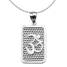 Sterling Silver Om/Ohm Engravable Dog Tag Pendant Necklace