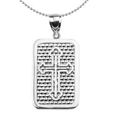 Sterling Silver Orthodox Cross Engravable Dog Tag Pendant Necklace