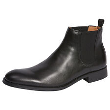 NEW Men's Harlem Slip-on Leather Boots - Black