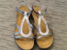 SALE! Women's Naot Dorith Beige Snake Pewter Leather Sandals 38 42 NEW!