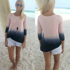 Fashion Ladies Womens Casual Long Sleeve Tee Shirt Loose Crew Neck Tops Blouse