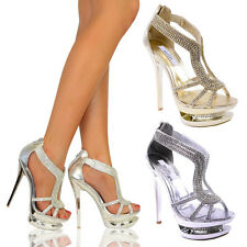 Strappy High Heel Ladies Diamante Bridal Wedding Party Shoe Silver Gold
