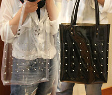 Clear Plastic Rock Punk Stud Rivets Hobo Bag Open Tote Shopper Satchel Handbag C