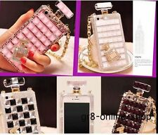 3D Bling Diamond Perfume Bottle Crystal Chain Case TPU Cover For IPhone Samsung
