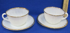 Vintage 2 Cups & 2 Saucers White Milk Glass w/ Gold Trim Fire King 4 Pieces