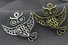 3/10/50pcs Antique Silver Exquisite Owl Jewelry Finding Charms Pendant 36x35mm