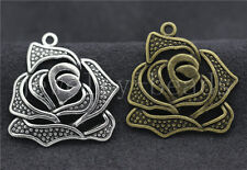 5/20/100pcs Tibet Silver/Bronze Beautiful Rose Finding Charms Pendant 27x25mm